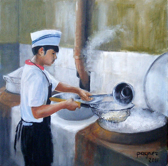Chinese Cook Oil Painting